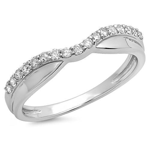 DazzlingRock Collection 0.25 Carat (ctw) 14K White Gold White Diamond Wedding Stackable Contour Guard Band 1/4 CT (Size 8.5)