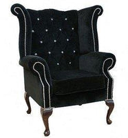 Designer Sofas4u Chesterfield Swarovski Queen Anne High Back Wing Chair Black Velvet