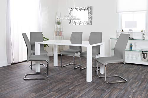 Furniturebox UK Pivero White High Gloss White Juego de mesa de comedor y 6 Modern Lorenzo Faux Leather Sillas Asientos (Mesa de comedor + 6 Elephant Grey Lorenzo Chairs)