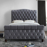 Cama de trineo de tela de terciopelo gris, Happy Beds Colorado Grey Fabric Modern Bed - 5ft UK King (150 x 200 cm) Solo marco