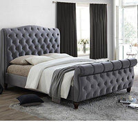 Cama de terciopelo gris Sleigh Bed, Happy Beds Colorado Grey Fabric Modern Bed-5ft Reino Unido King (150 x 200 cm) Frame Only