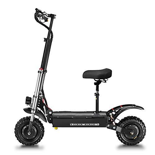 GUNAI Electric Scooter 5400W Dual Motor Max Speed 85km/h 11-inch Off-road Tire Double Suspension LED Headlights Foldable Commuting Scooter with Seat and 60V Battery Suitable for Off-road Enthusiasts