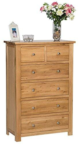 Hallowood Waverly Large Chest of 6 Drawers in Light Oak Finish | Solid Wooden Storage Unit, (WAV-CHE2-4)