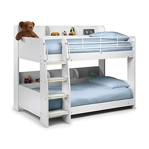 Happy beds Domino White Finished Sleep Station Kinder Bunk Bed Frame 3'Single