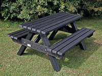 Heavy Duty Picnic Bench Table 1500mm Weatherproof Recycled Plastic Black