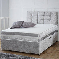 "Muebles para el hogar UK Hf4you Ortho Sprung Memoria Crushed Velvet Divan Cama - 4FT6 Doble - Cajón de extremo - 24"" Cube Headboard - Plata"