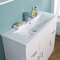 Home Standard Ice Cube White Gloss 1000mm Baño Unidad de tocador de pie y lavabo de borde medio