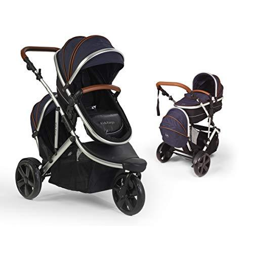 Jogger Fitty Double Tandem Travel System Pushchair With Footmuff And Tan Leatherette Handles (Navy Tan)