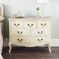 Juliette Shabby Chic Champagner Große 6 Drawer Chest (120x96), Atemberaubende ASSEMBLED Creme Kommode