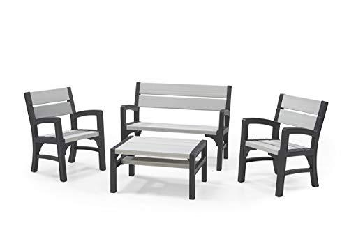 Keter Montero Wood Look 4-Seater Outdoor Garden Furniture Lounge Set, Soft Grey