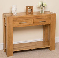 Kuba Chunky Solid Oak Wood 2 Drawer Console Table Unit Hallway Living Living Room, 110 x 40 x 80 cm