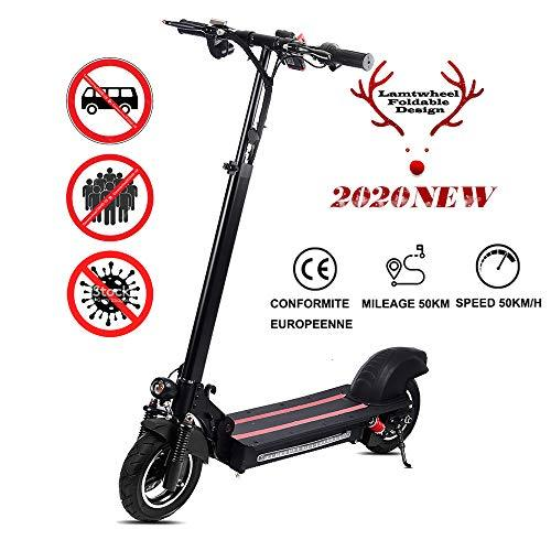 Lamtwheel 1200 Watt Electric Scooter - Range 40-50 Km/Hy 40-50 Km with Off-Road Tyres - Foldable - Electric Scooter 48V/22Ah Black Red, Black Red, 1200W