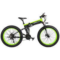 LANKELEISI T750P 26 Inch Folding Mountain Bike 1000W Motor 48V 14.5Ah Lithium Battery with Bike Computer Pedal Assist Electric Bike (Black Green, 1000W 14.5Ah + 1 Spare Battery)