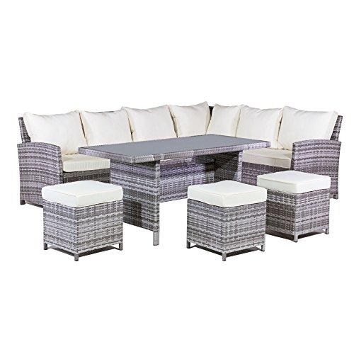 MMT Rattan Garden Furniture L-Shaped Dining Corner set - 8 seater - Long left hand sided 2.5M x 1.9M- 6 piece set - 2 Man Home delivery - Bookable - please ensure telephone number is up to date!