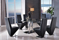 MODERN FURNITURE DIRECT Roma Designer Glass Dining Table & 6 Rita Black Chairs