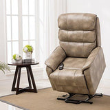 More4Homes BUCKINGHAM DUAL MOTOR ELECTRIC RISE RECLINER BONDED LEATHER SOFA MOBILITY CHAIR (Piedra)