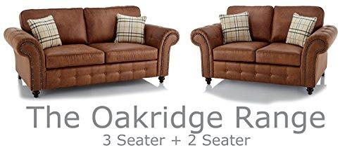 Oakridge Large Leather Sofa Suite - Available In Black or Tan (Tan, 3 + 2 Seater)