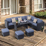 Outsunny 10PC Garden Rattan Corner Dining Sofa Set Patio Tables Stools Outdoor Wicker Lounge Conservatory Furniture w/Cushions & Pillow