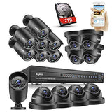 SANNCE 1080P HD 16CH DVR Video Security System + 2TB Hard Drive Disk - 16×2.1 MP Weatherproof & Vandalproof IP66 Bullet & Dome CCTV Cameras, Day Night Vision, Quick QR Code Smartphone Access, USB Backup (8 Bullet + 8 Dome - 2TB HDD)