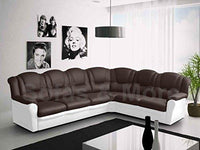 Texas Big Corner Sofa Suite - Brown and White Faux Leather (Right)