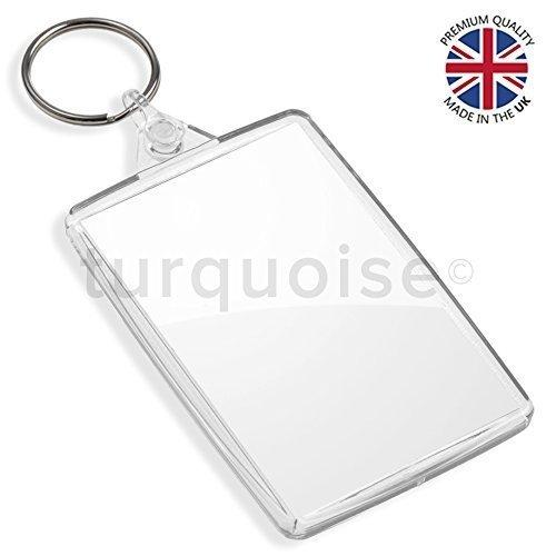Turquoise Premium Quality Clear Acrylic Blank Keyrings Key Fobs 70 x 45 mm | Large (Pack of 2500)