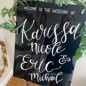 Black Acrylic Welcome Sign