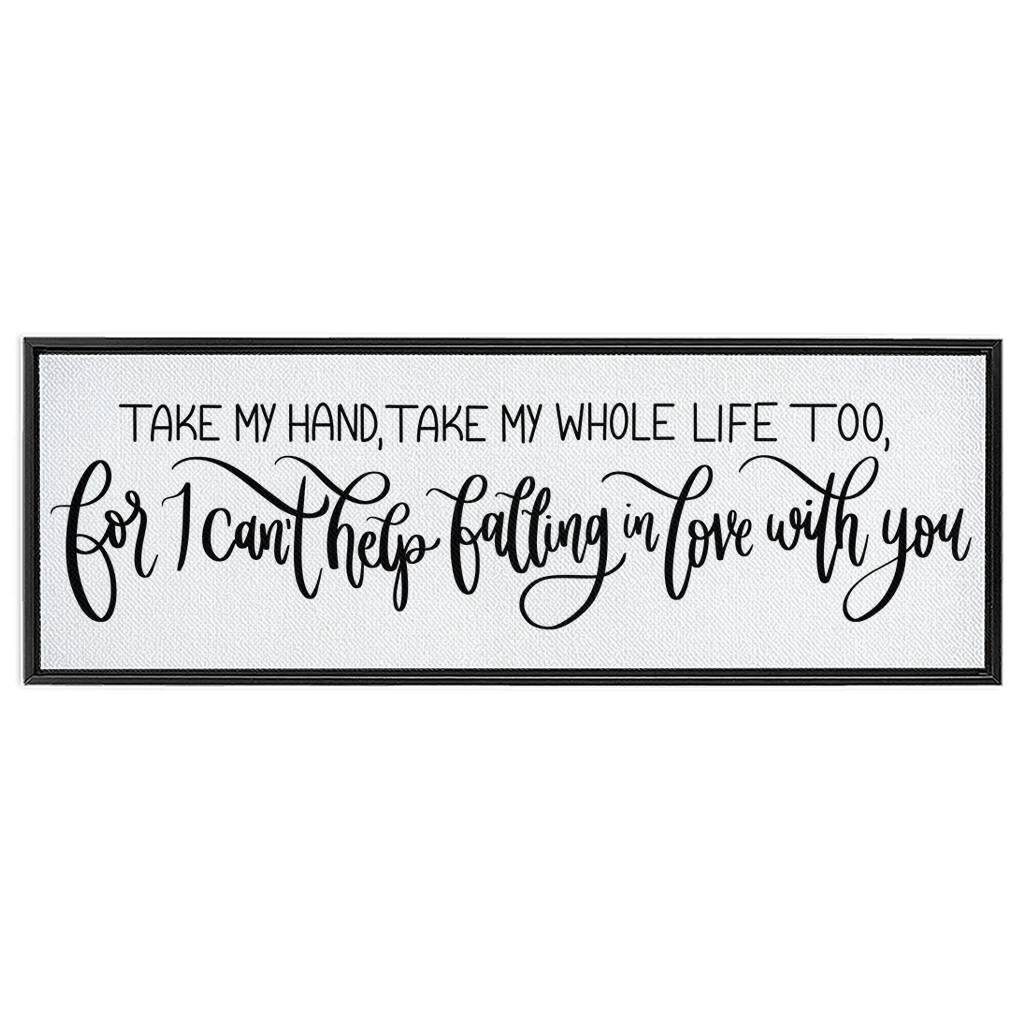 Falling In Love With You Framed Canvas Sign