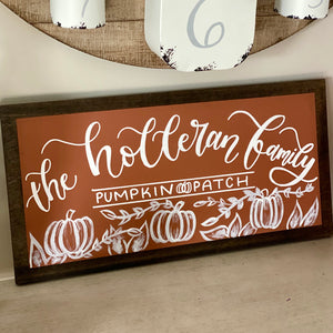 Family Pumpkin Patch Sign