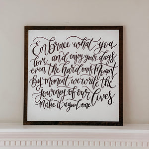White Wooden Lyric Sign - ALL SCRIPT