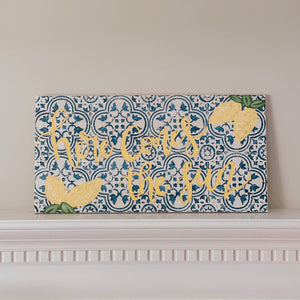 Blue Distressed Tile Wooden Sign