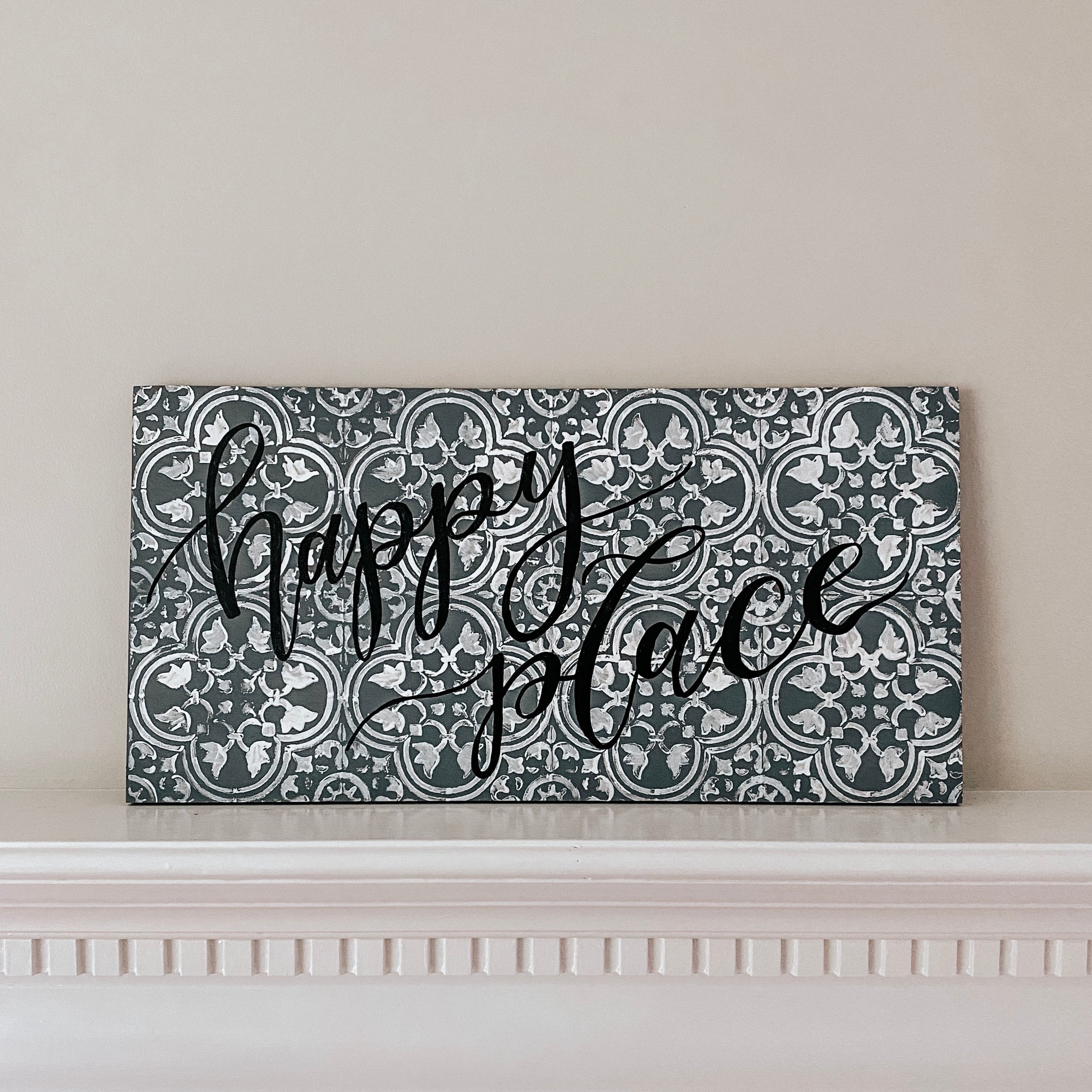 Grey Distressed Tile Wooden Sign