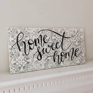 White Distressed Tile Wooden Sign