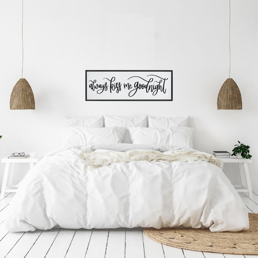 Always Kiss Me Goodnight Framed Canvas Sign