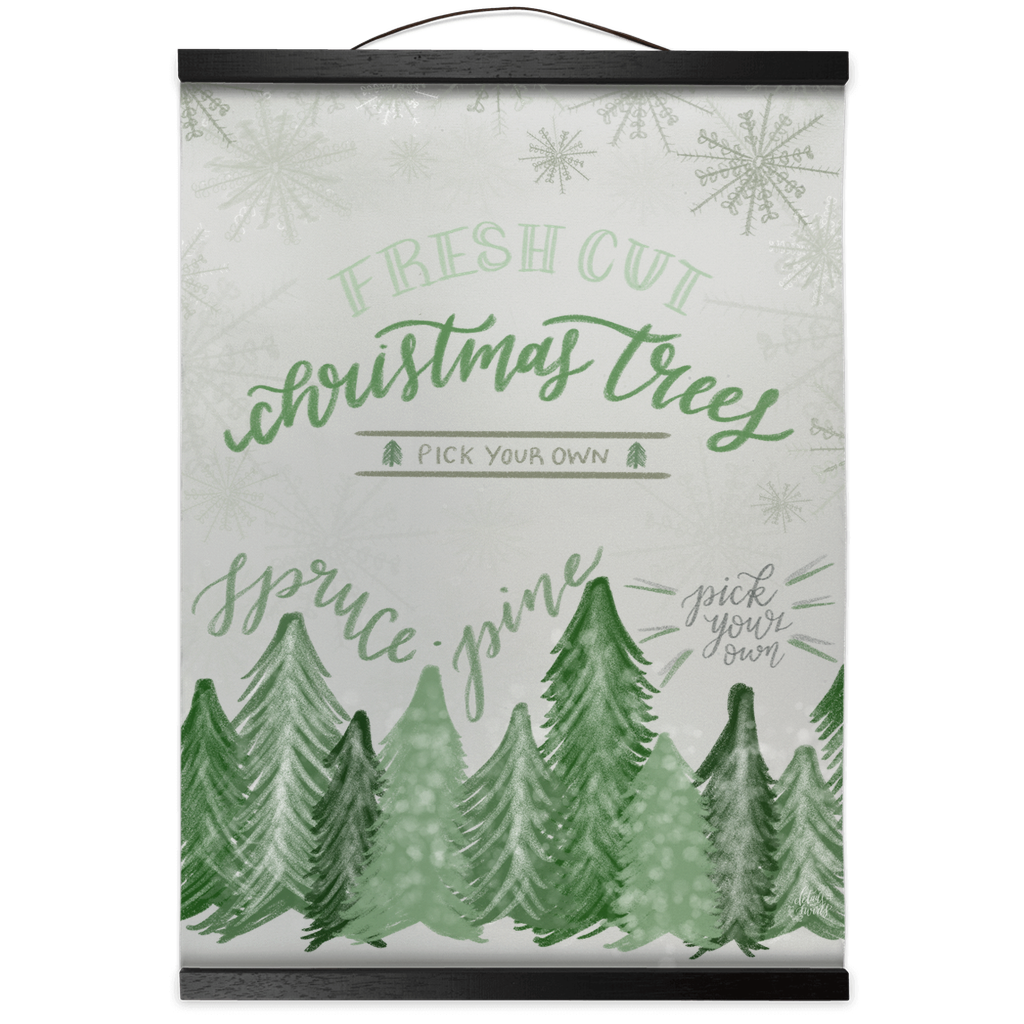 Fresh Cut Christmas Trees Hanging Canvas