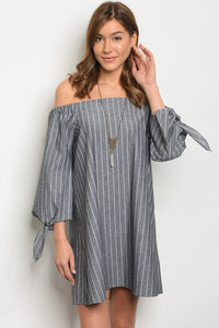 Gray & White Strip Dress