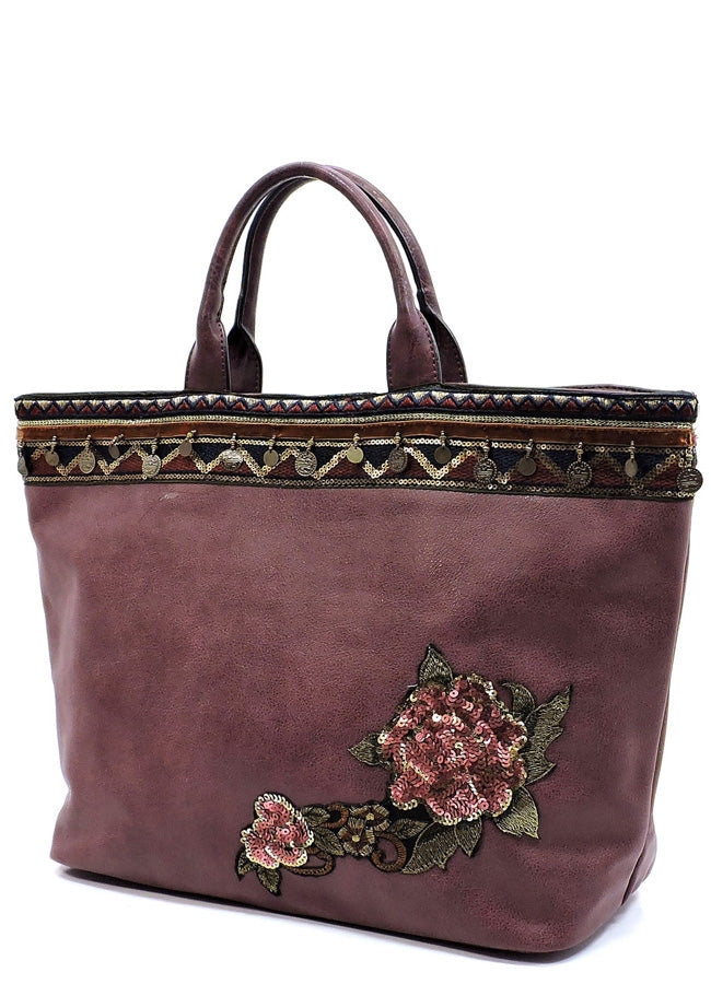 Sequin Flower Satchel