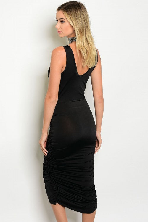All Black Elegance Dress (Next Day Shipping)