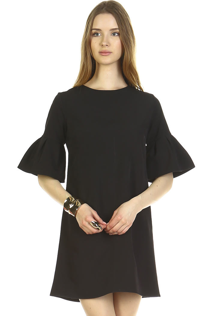 Solid Flounce Sleeves Dress