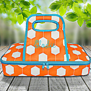 Hexagon Link w/ Turquoise Trim Casserole Tote