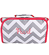 Chevron Cosmetic Bag Gray and White