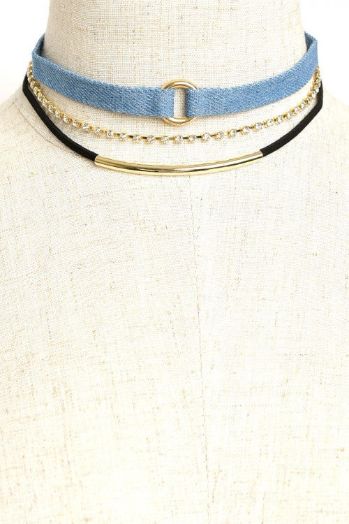 Multi Stone Denim Choker