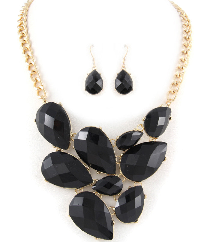 Black Statement Necklace Set
