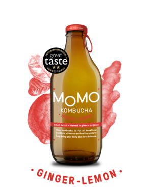 Momo Ginger Lemon Kombucha (330ml bottle) LOCAL DELIVERY ONLY - Guzzl