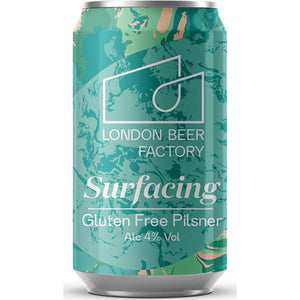 London Beer Factory Surfacing Gluten Free Lager: 330ml can - Guzzl