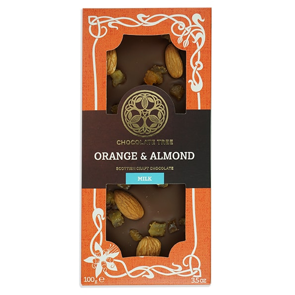Chocolate Tree Orange and Almond Milk Chocolate Bar (100g) - Guzzl