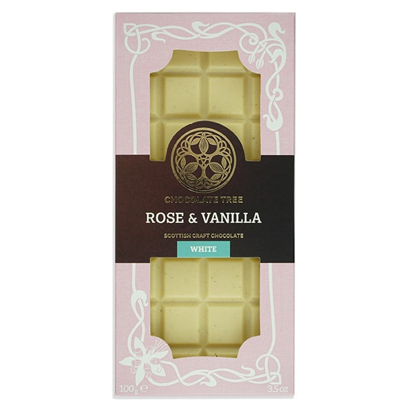 Chocolate Tree Rose and Vanilla White Chocolate Bar (100g) - Guzzl