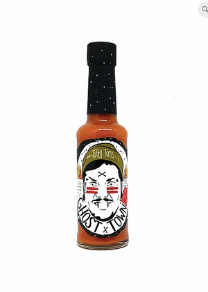 Tubby Tom's Ghost Town - Super Hot Garlic x Ghost Chilli Sauce: 150ml bottle - Guzzl
