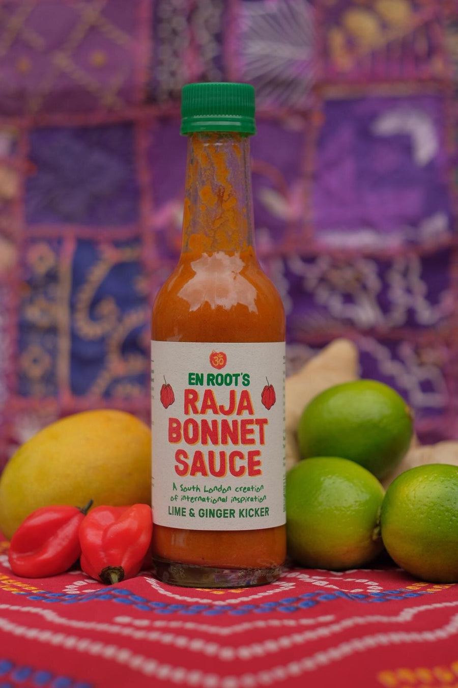 En Root's Lime and Ginger Raja Bonnet hot sauce - Guzzl