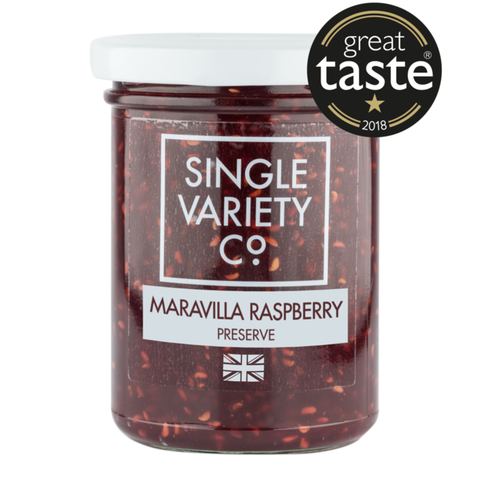 Single Variety Maravilla raspberry preserve: 220g jar. - Guzzl