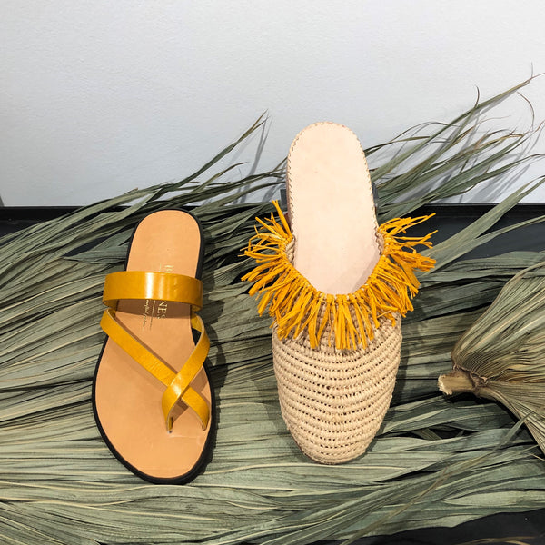 Raffia mules Imaan natural/yellow